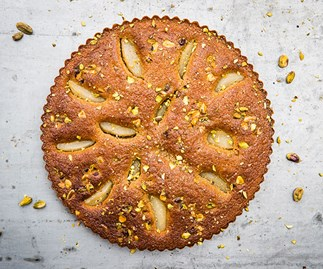 Bourke Street Bakery's pear and pistachio love cake, part of the #BakeForSyria cookbook