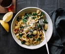 Orecchiette with turnip tops, bacon and lemon