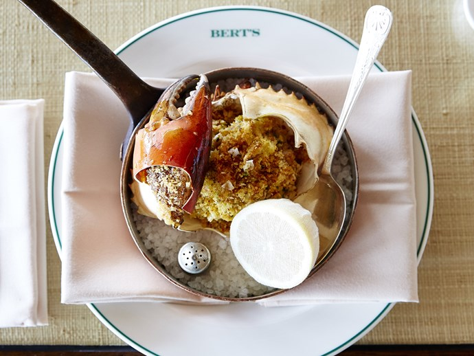 Hand-picked mud crab roasted Basque style at Bert's, Newport.