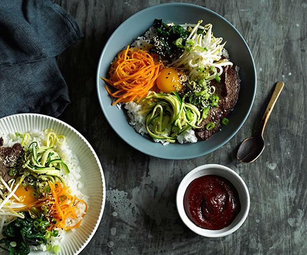 "[**Beef bibimbap**](https://www.gourmettraveller.com.au/recipes/fast-recipes/beef-bibimbap-13363 target=""_blank"")"