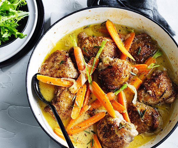 Rosemary mustard and brandy chicken with buttered carrot