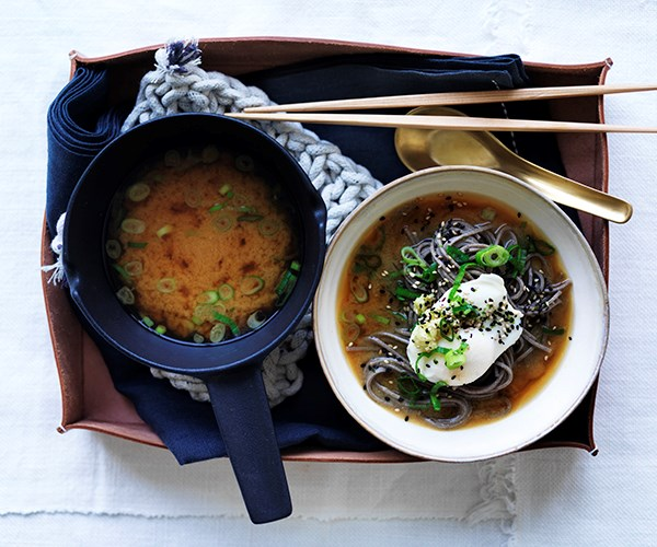 Miso with soba, poached eggs and spring onion