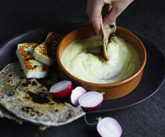 Toum with quick za'atar flatbread and haloumi