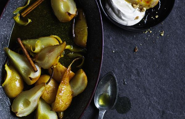 Honey and saffron roasted pears with spiced yoghurt