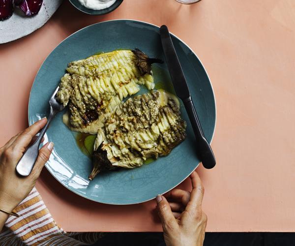 "**[Eggplant lines](https://www.gourmettraveller.com.au/recipes/chefs-recipes/eggplant-lines-16241|target=""_blank"")**"