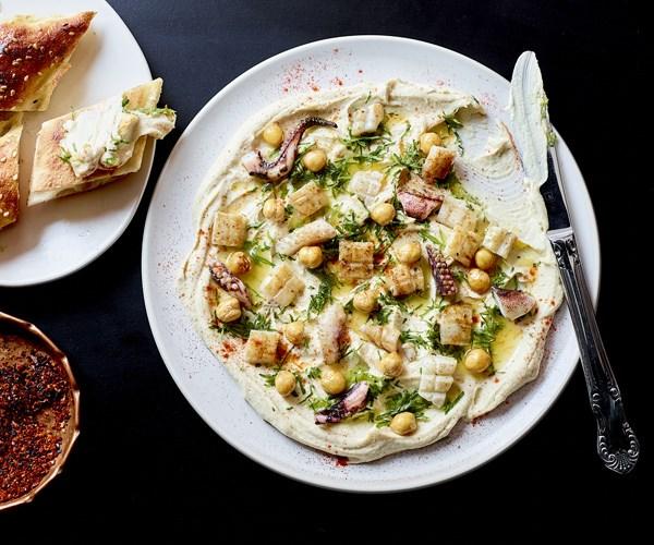 """**[Hummus bi calamari](https://www.gourmettraveller.com.au/recipes/chefs-recipes/hummus-bi-calamari-16251 target=""""_blank"""")**"""