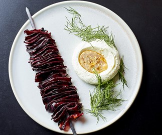 Beetroot kebabs with labne and dukkah