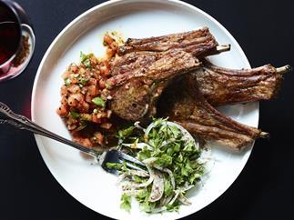 Lamb cutlets with sumac and parsley salad