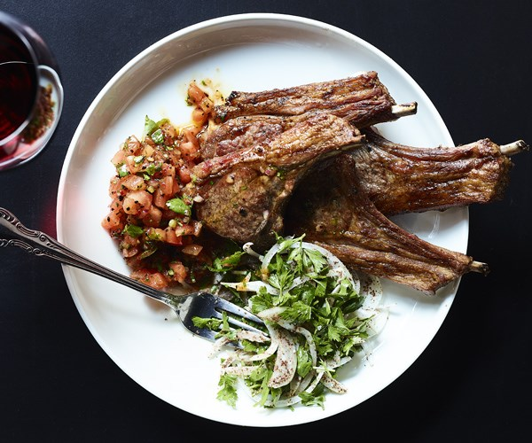 Lamb cutlets with sumac and parsley salad