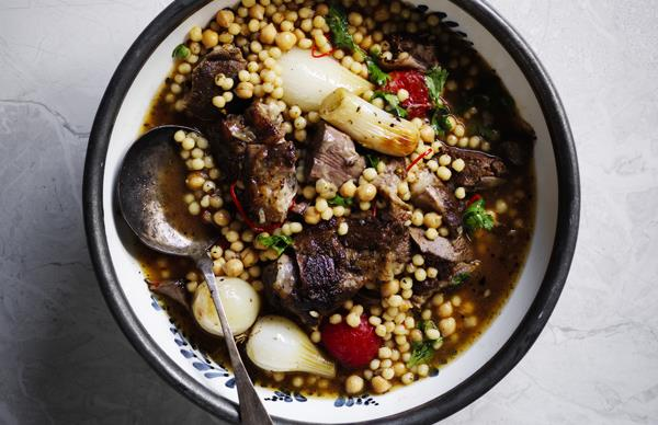 Baharat lamb shoulder with onions and moghrabieh