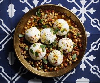 Burrata with broad bean and chickpea stew