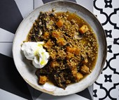 Freekeh with pumpkin and mushrooms