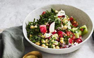 Chickpea salad with tahini dressing