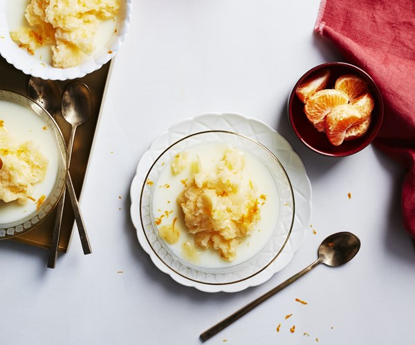 Orange blossom milk puddings with mandarin