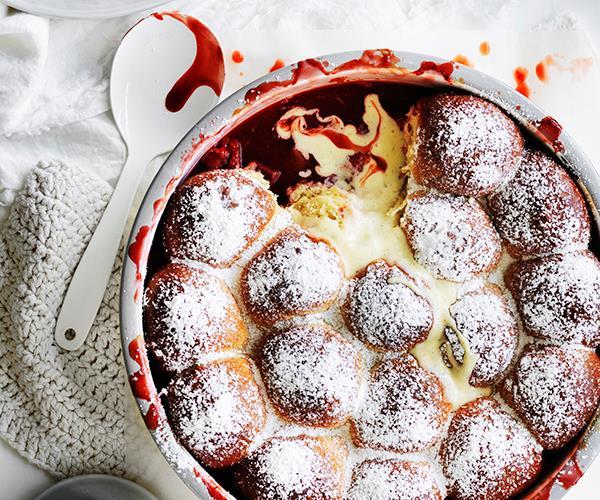 "**[Rhubarb-strawberry milk bun pudding](https://www.gourmettraveller.com.au/recipes/browse-all/rhubarb-strawberry-milk-bun-pudding-12838|target=""_blank""|rel=""nofollow"")**"