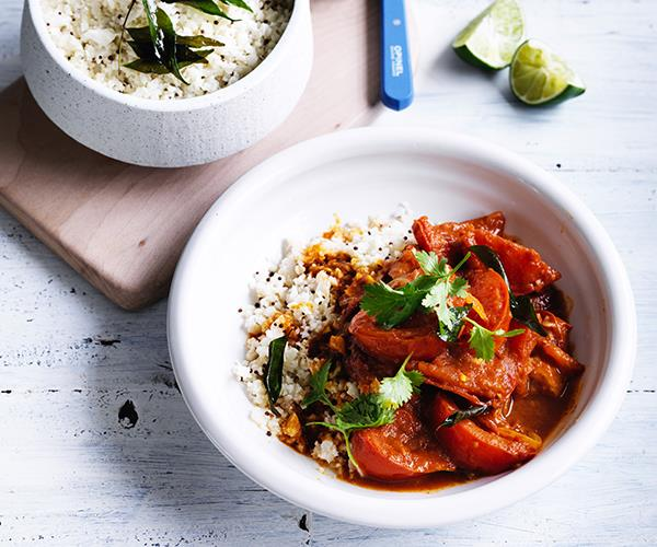 "**[Summer tomato curry with cauliflower rice](https://www.gourmettraveller.com.au/recipes/fast-recipes/summer-tomato-curry-with-cauliflower-rice-13786|target=""_blank"")**"