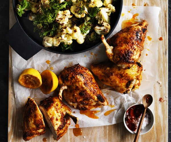 """**[Roast chilli chicken with cauliflower and kale](http://www.gourmettraveller.com.au/recipes/fast-recipes/roast-chilli-chicken-with-cauliflower-and-kale-13698