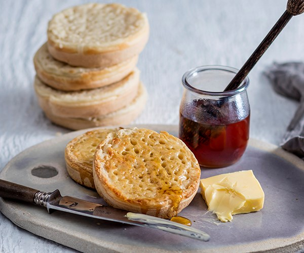 Dr Marty's crumpets with honey and butter