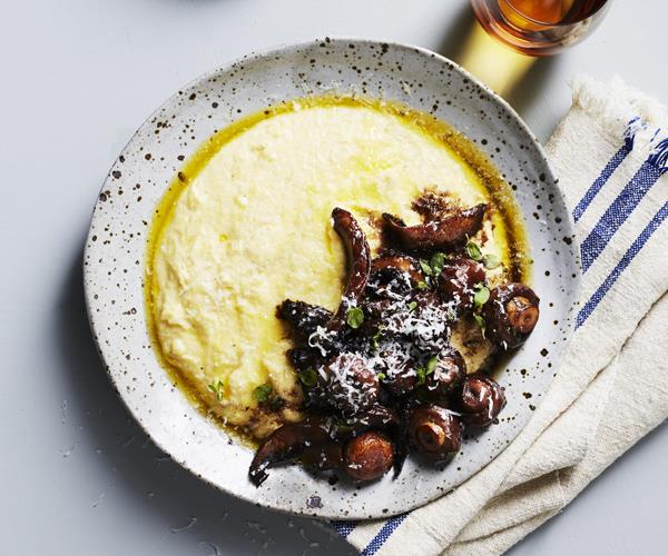 "**[Braised mushrooms with polenta](https://www.gourmettraveller.com.au/recipes/fast-recipes/braised-mushrooms-with-polenta-16339|target=""_blank""