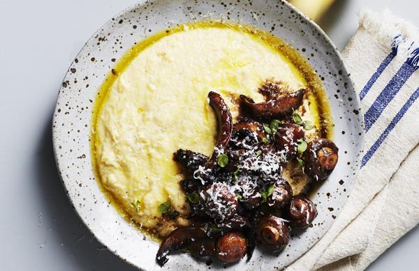 Braised mushrooms with polenta