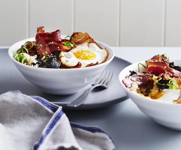 "**[Bacon and egg rice bowls](https://www.gourmettraveller.com.au/recipes/fast-recipes/bacon-and-egg-rice-bowls-16341|target=""_blank"")**"
