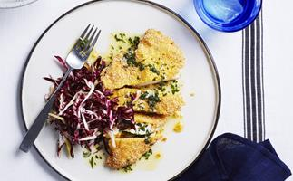 Polenta-crumbed chicken with herb butter