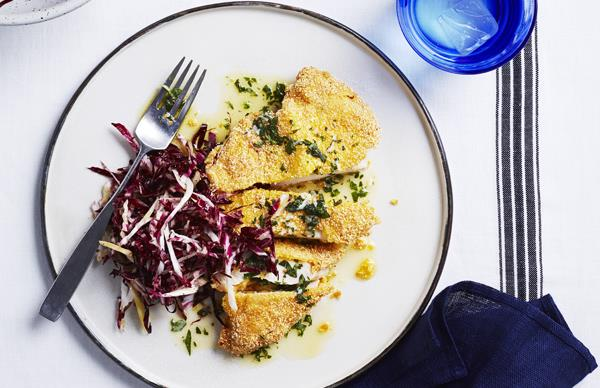 Polenta-crumbed chicken with herb butter