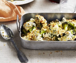 Broccoli cheese with anchovy and chilli crumbs