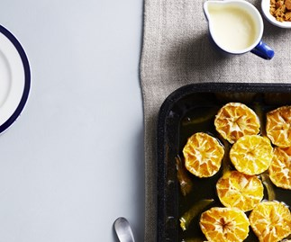 Roasted mandarins with ginger custard