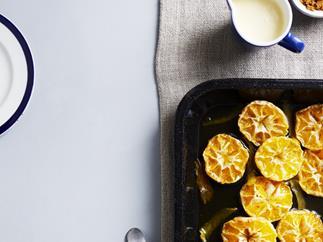 Roasted mandarins with ginger custard