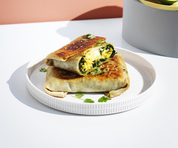 """**[Egg and spiced silverbeet wraps](http://www.gourmettraveller.com.au/recipes/browse-all/egg-and-indian-spiced-creamed-silverbeet-wraps-16350
