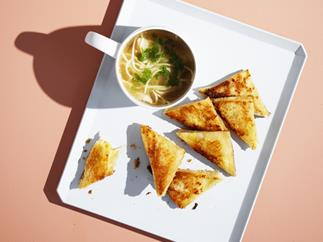 Teeny-tiny cheese toasties with chicken noodle soup