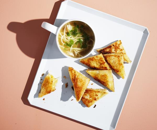 "**[Teeny-tiny cheese toasties with chicken noodle soup](https://www.gourmettraveller.com.au/recipes/browse-all/teeny-tiny-cheese-toasties-with-chicken-noodle-soup-16351|target=""_blank"")**"