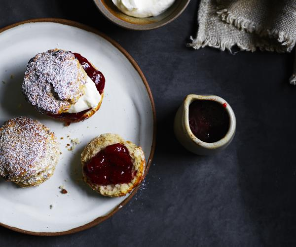"**[Strawberry, buckwheat and kefir scones](https://www.gourmettraveller.com.au/recipes/browse-all/strawberry-buckwheat-and-kefir-scones-16360|target=""_blank"")**"