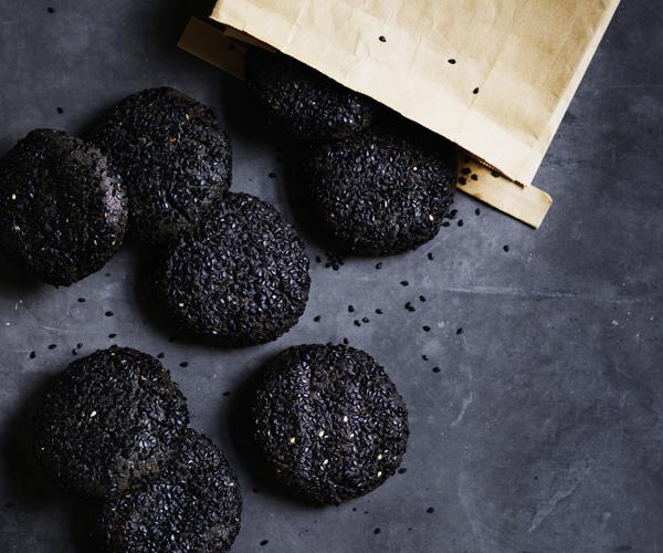 Black sesame, brown butter and wattleseed cookies