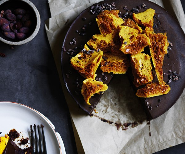 Chocolate, Earl Grey and honey-ganace brownie