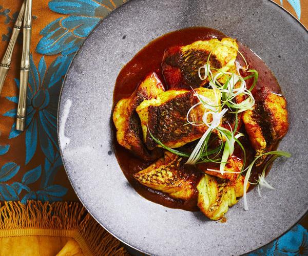 "**[Pan-fried fish with vinegar sambal](https://www.gourmettraveller.com.au/recipes/chefs-recipes/pan-fried-fish-with-vinegar-sambal-16369|target=""_blank"")**"