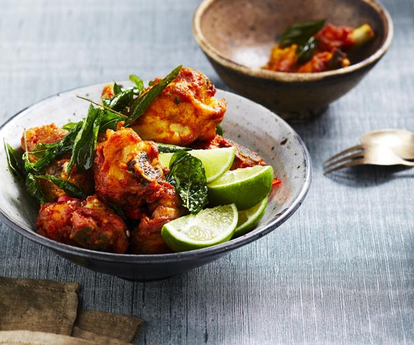 "**[Malay fried chicken with curry leaves](https://www.gourmettraveller.com.au/recipes/chefs-recipes/malay-fried-chicken-with-curry-leaves-16371|target=""_blank"")**"