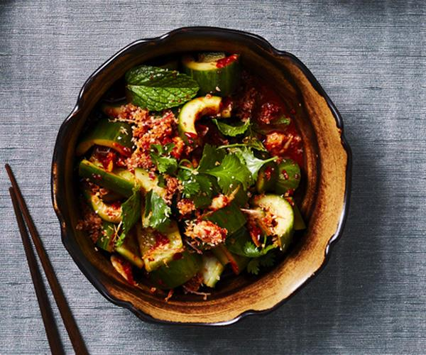 "**[Tony Tan's cucumber salad with sambal belacan](https://www.gourmettraveller.com.au/recipes/chefs-recipes/cucumber-salad-16372|target=""_blank"")**"