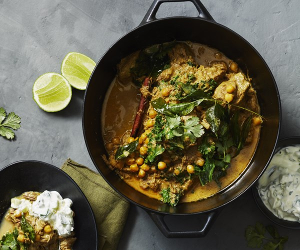 Indian-spiced lamb and chickpea curry