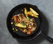 Pork chops with hazelnut and sage
