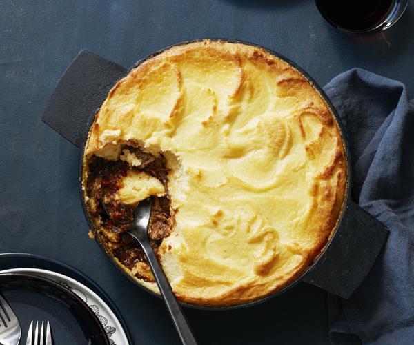 Lamb and duchess potato pie