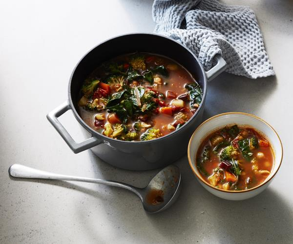 Minestrone with rainbow chard and quinoa