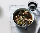 Beef bone broth with mushrooms and buckwheat noodles