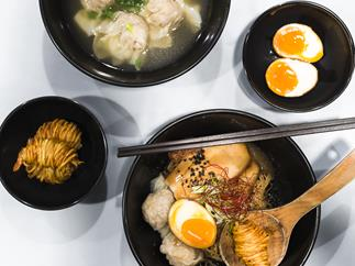 Hong Kong-style wontons, Singapore-style ramen and potato-wrapped prawns at A Noodle Story, inside Amoy Street Food Centre
