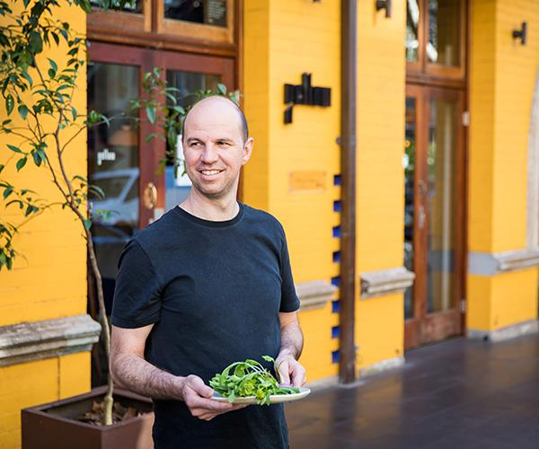 Brent Savage outside his all-vegetarian restaurant, Yellow, in Sydney's Potts Point.