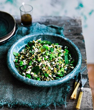 Farro with broad beans, ricotta salata, mint and lovage plus 29 other broad bean recipes