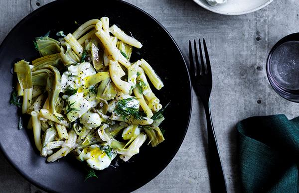 Casarecce with artichokes, capers, dill, lemon and mozzarella