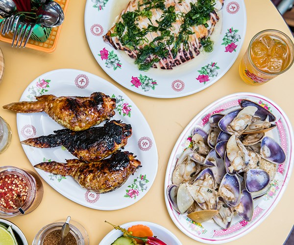Dishes at Kingdom of Rice include pippies, stuffed chicken wings and grilled calamari