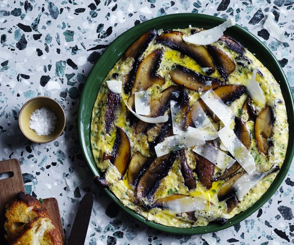 Herb frittata with mushrooms